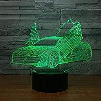 クールなスポーツカーLED3Dナイトライトノベルティ7色変更USBデスクテーブルランプキッズギフト用3Dイリュージョンランプドロップシップ