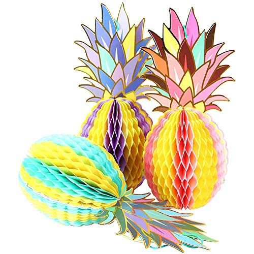 ANCLLO 3 piezas de papel multicolor piña panal colgante decoración para fiestas tropicales hawaianas Luau suministros favores boda decoración del hogar
