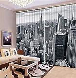 3D Cortinas Opacas,Diseño De Impresión Digital Cortinas Verticales Distintivas, Gris Cityscape Impresión Simple Elegante Cortinas De Ojal Aislamiento Transpirable, Para La Sala De Estar Dormitorio