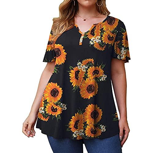 S-UN Damen ÜBergrößE T-Shirt LäSsig Lose V-Ausschnitt Blumendruck Oberteile Top Sommer Mode Kurzarm Tops Elegant Bluse Tops mit Knopf