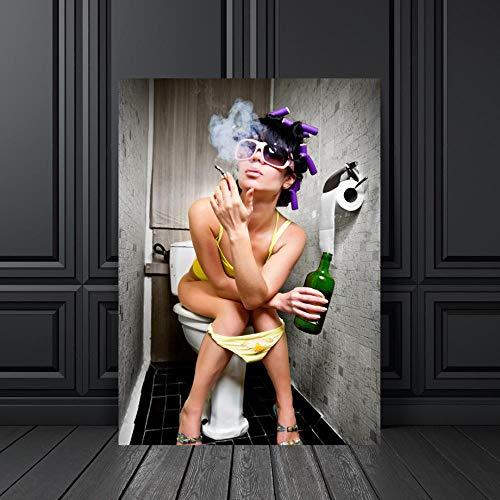 Personalización Puzzle para Adultos 1000 Piezas Madera, Moda Baño Chica Fumar Carteles Rompecabezas, Juguetes intelectuales creativos Regalo para Mujeres, 75x50cm