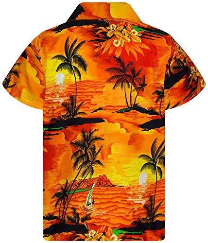 King Kameha Funky Hawaiian Shirt Kids Boys, Shortsleeve, Print Surf, Orange, 10