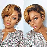BLISSHAIR Lace Frontal Wigs 1B/30 Short Bob Pixie Cut Perücken Echthaar Human Hair Wig 150% Dichte Straight Brasilianisches Virgin Remy Echthaar Perücke Braun mit Pony (1B/30, Curly)