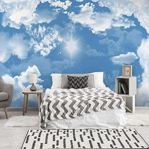 Fotomurales Decorativos Pared Vinilos Decorativos Papel Fotografico 3D Murales De Cielo Azul Y Nubes Blancas Papel Pintado Cuadros Habitacion Bebe Posters Mural Pared