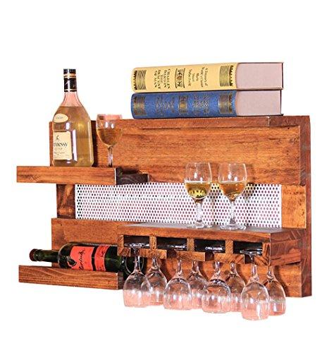 """TUNBG Boden Holz Weinregale European Suspension Regale Restaurant Retro Becher Rahmen Wein Rack, no. 1\"""" Wine Frame"""