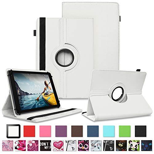 NAUC Tablet Schutzhülle für Medion Lifetab P8912 Hülle Tasche Standfunktion 360° Drehbar Cover Universal Hülle, Farben:Weiss