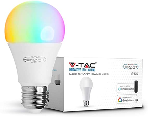 V-TAC 9W Smart WiFi LED Bulb, RGB + 6000K White and Multicolored, Dimmable,  Auto On/Off, Compatible with Alexa and Google Home, No Hub Required, E27  Standard Edison Screw Base : Amazon.co.uk: Lighting