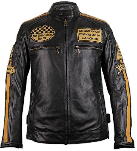 MDM Motorrad Retro Lederjacke aus echtem Leder (2XL)