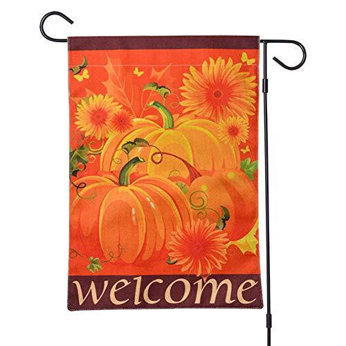 Apofly Garten Willkommen Flagge, Garten-Zeichen Pumpkins Sunflowers Halloween Herbst Bauernhof Seasonal Yard Außendekoration 2st