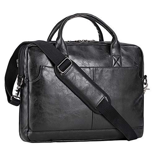 Leather Laptop Bag, Men's 15.6 Inches Messenger Briefcase Business Satchel Computer Handbag Shoulder Bag Fits 15.6 Inch Laptop, Computer, Tablet (Black)