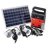 GTFHUH 1 Set portátil 10W Generador de energía Solar al Aire Libre Mini DC10W Panel Solar 6V-9Ah batería de Plomo de Carga Sistema de Iluminación LED,Rojo