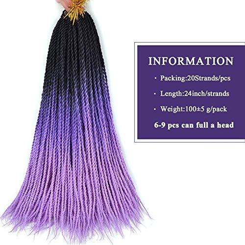 Longue Sénégal Twist Tresses Crochet Braid Hair Extensions Eunice Noir, Marron, Rose Cheveux tressage synthétique Cheveux pour Les Femmes Ombre,Ombre Pourpre Lilas,3pcs / Lot
