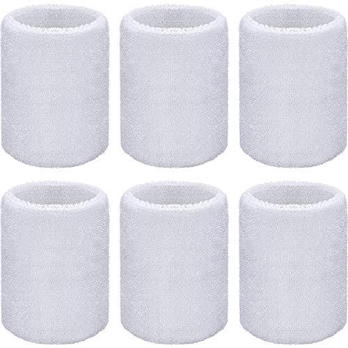 WILLBOND Handgelenk Schweißbänder Sport für Fußball, Basketball, Laufsport, Weiß, 6 Stück