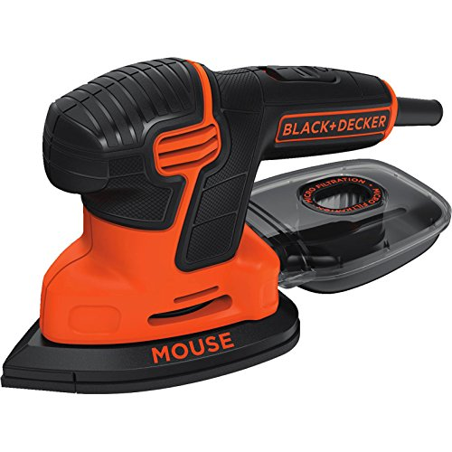BLACK+DECKER 120 W Next-Gen Detail Mouse Electric Sander with 9 Accessories and Kitbox, KA2500K-GB