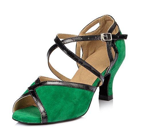 URVIP Nowości damskie buty flanelowe do sali balowej, nowoczesne buty latynoskie z paskiem na kostkę, buty do tańca LD007, zielony - zielony - 41 EU