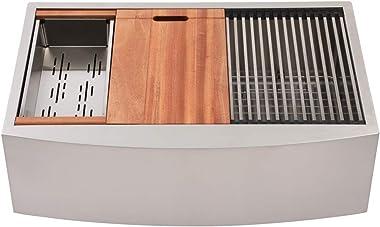 33 Farmhouse Sink - Mocoloo Undermount 33 Inch Farm house kitchen Sink Apron Front Ledge Workstation Single Bowl 16 Gauge Sta