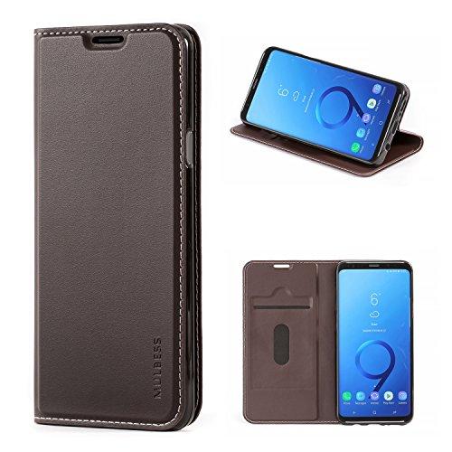 Mulbess Handyhülle für Samsung Galaxy S9 Plus Hülle Leder, Samsung Galaxy S9 Plus Handytasche, Flip Schutzhülle für Samsung Galaxy S9 Plus / S9+ Case, Kaffee Braun