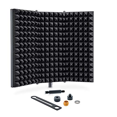 Sonic Acoustics Professional Studio Recording Microphone Isolation Shield, Pop Filter, High Density Absorbent Foam Reflector for Any Condenser Microphone Recording Equipment Studio, Silver Grey