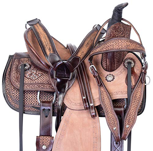 "Acerugs Youth Roping Saddle 12"" 13"" 14"" Western Leather Ranch Work Rodeo Beginner Roper Horse TACK Set (Brown, 14')"