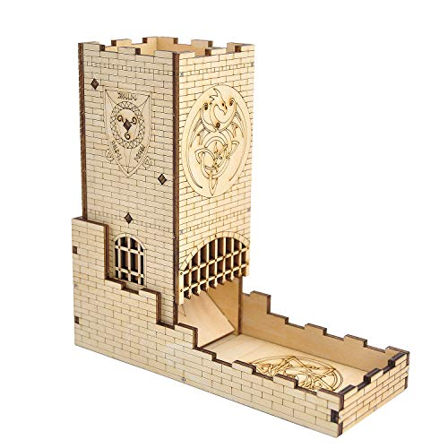 Castle Dice Tower with Tray Wood Laser Cut Dragon...