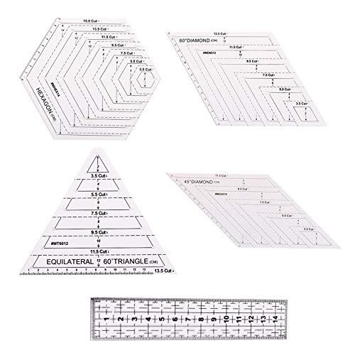 Juego de 5 reglas para acolchar transparentes, plantillas creativas para acolchar cuadrículas, regla de costura cuadrada de 45 grados rombo de 60 grados, herramienta de costura para tela de retazos