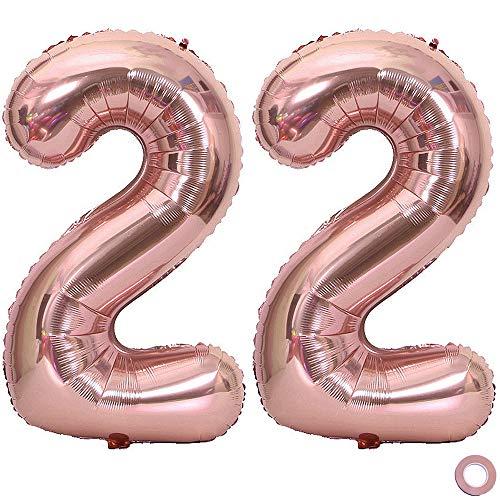 Juland Luftballon Zahl 22 Rosegold Geburtstag Folienballon Helium Folie Pinke Luftballons für Geburtstag Jubiläum 40 Zoll XXL- Riesenzahlen #22