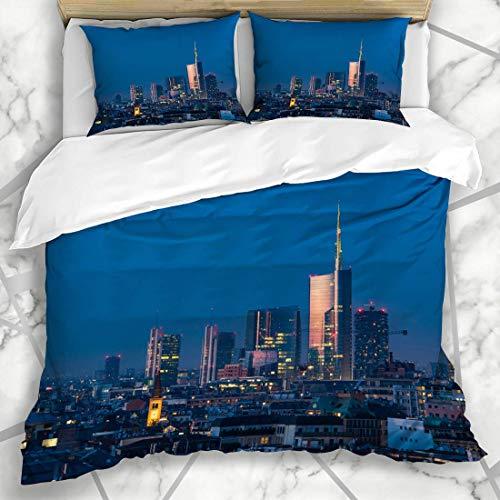 HARXISE Bettwäsche - Bettwäscheset Stadt-Sonnenuntergang-Neue Wolkenkratzer Mailands Milan Downtown Porta italienisches Stadt-modernes Nachtdesign Mikrofaser weich dreiteilig135*200
