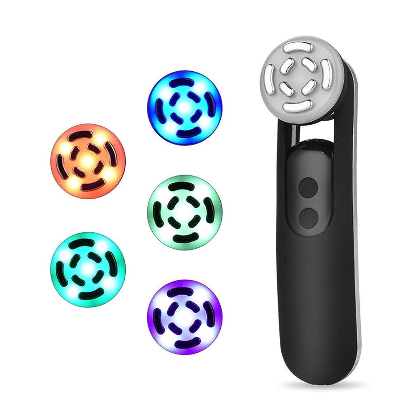 夫自宅で許されるフェイシャルマッサージイオンフェイシャルクレンジングアンチエイジングファーミングスキンマイクロショックテクノロジー5色LEDライト若返りしわ美容機器,Black