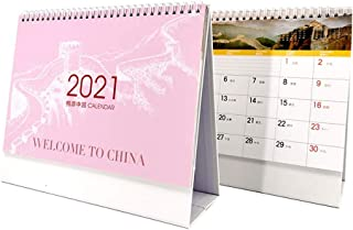 $25 » ZJH 2021 Desk Calendar,Cute Desktop Standing Flip Calendar 12 Monthly Calendar Daily Organizer Planner, for Home Office Su...