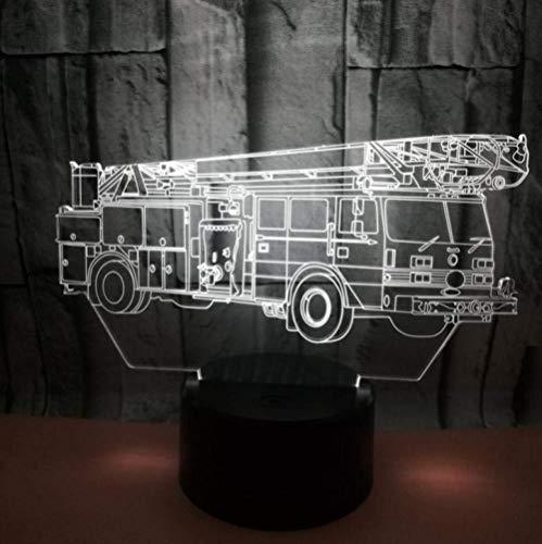 3D-afstandsbediening, nachtlampje, brandweerauto, kleur led-afstandsbediening, licht, acryl, visuele stereo-licht, touch zwart basis, nachtlampje met USB-afstandsbediening, bureaulamp
