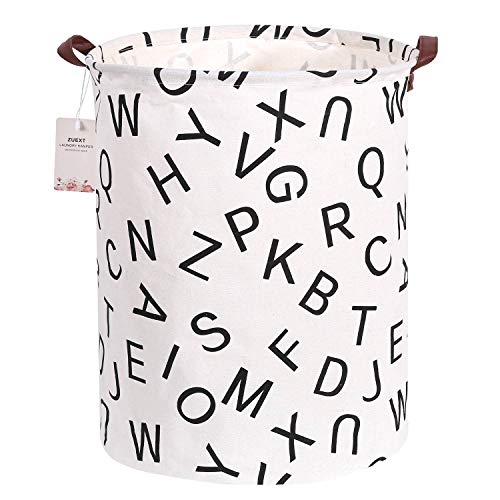 Extra Large Canvas Laundry Hamper Collapsible Storage Bin with Letters Design 19.7x15.7 Inch, ZUEXT Waterproof Cotton Linen Fabric Foldable Organizer Clothes Laundry Baskets for Baby Nursery Bedroom