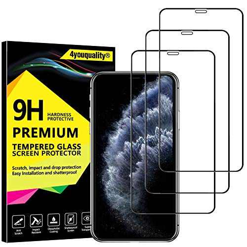 4youquality [3-Pack][Full Coverage] iPhone 11 Pro Max and iPhone XS Max Screen Protector, Tempered Glass Film [Full-Coverage][LifetimeWarranty] Screen Protector for iPhone XS Max & iPhone 11 Pro Max