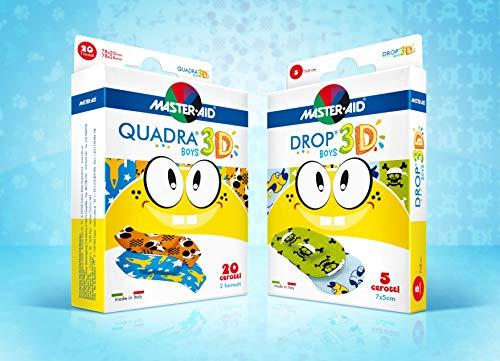 Vorteilspack sensitive Kinderpflaster, Jungen-Pflaster QUADRA® 3D, DROP® 3D - MASTER AID (Pflastermotive für Jungen)