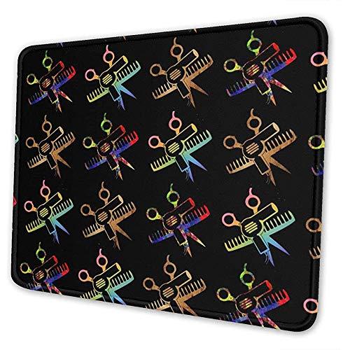 Mauspad Schere Kamm Friseur Salon Computer Mousepad Spielmatte Bürozubehör Rutschfester Laptop Rechteck Gummi Schreibtisch Dekor 3 Größen Benutzerdefinierte Bunte Schule 25X30cm