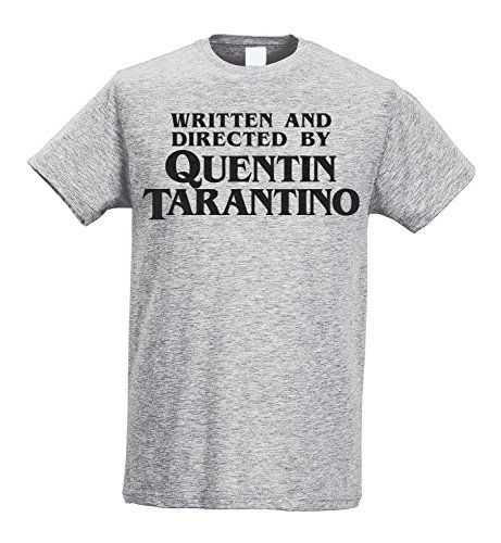LaMAGLIERIA Camiseta Hombre Slim - Written and Directed by Quentin Tarantino - Camiseta 100% algodòn Ring Spun