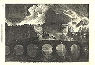 The Great Fires at Newcastle & Gateshead from The High Level Bridge - 1854 - Old Antique Vintage Print - Art Picture Prints of Durham