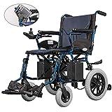 ZHANGYY Silla de Ruedas eléctrica de Pedal Desmontable, Scooter eléctrico Ligero de Doble función Plegable de Viaje Scooter eléctrico, Azul