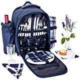 Juvale Picnic Backpack for 4 Person - Waterproof Picnic Basket...