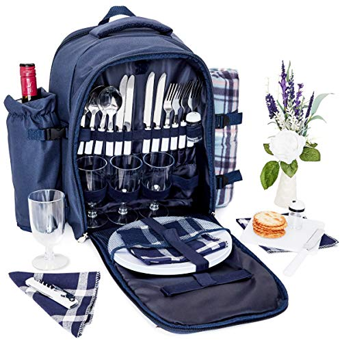 Juvale Picnic Backpack for 4 Person - Waterproof Picnic Basket Bag with Cooler Compartment, Cutlery Set, Detachable Wine Bottle Holder and Blanket for Outdoor Camping – Blue