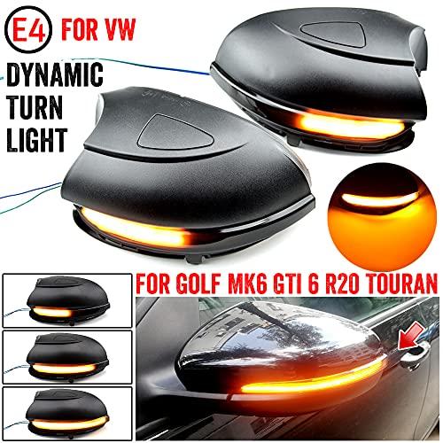 MKptopia Intermitente dinámico para Volkswagen Golf MK6 para GTI 6 R line VI R20 Luz LED de señal de giro Touran GTD indicador de espejo lateral para VW-Sin agujeros