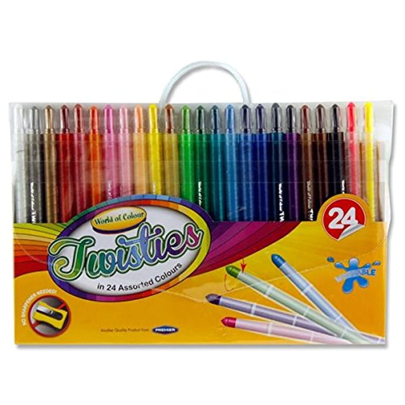Premier Stationery World of Colour Twisties Crayons. Pack of 24 Assorted Vibrant Colours. No shapening Required - just Twist and Start Colouring.