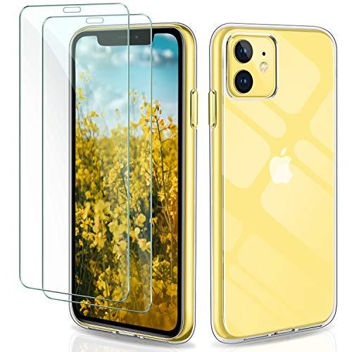 Gnews iPhone 11 Hülle + [2 Stück] Panzerglas für iPhone 11, Schutzhülle Transparent TPU Silikon Case Cover Tasche Schale 9H HD Schutzfolie Panzerglasfolie Glas für iPhone 11 (6.1 Zoll)