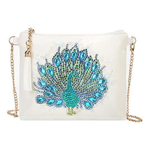 Bolsas de hombro con pintura de diamantes, para manualidades, diseño de pavo real, con forma especial, con diamantes de imitación