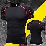 Cxypeng Short Sleeves Compression T-Shirt Tee,T-Shirt de Yoga à Manches Courtes, Combinaison de Compression ajustée à séchage Rapide-Red_L,Maillot Compression Homme T-Shirt