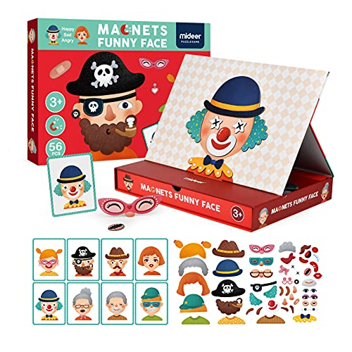 MiDeer Magnetic Jigsaw Puzzles,56Pcs Funny Face Puzzle Board with Drawers Portable Imagination...
