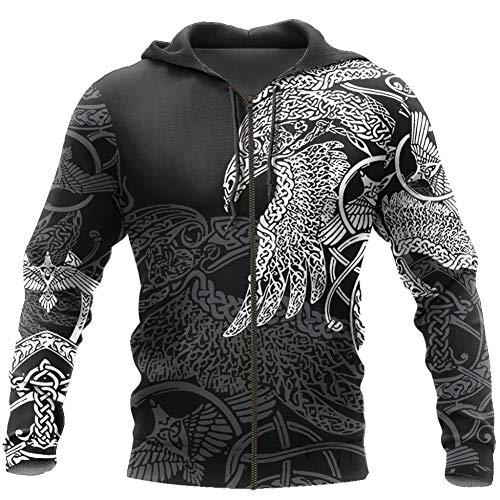 YCYR Viking 3D Tattoo Hoodies, Nordische Mythologie Mjolnir Streetwear Casual Hooded Sweatshirt, All Over Bedrucktes Unisex Langarm Pullover Sweatshirt,Eagle Zipper,4XL