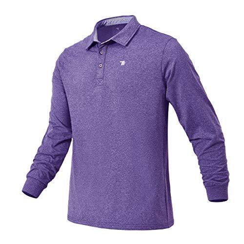 Donhobo Polo da uomo a maniche lunghe, per attività all'aperto, caldo, traspirante, polo da golf, tennis, tempo libero Lilla L