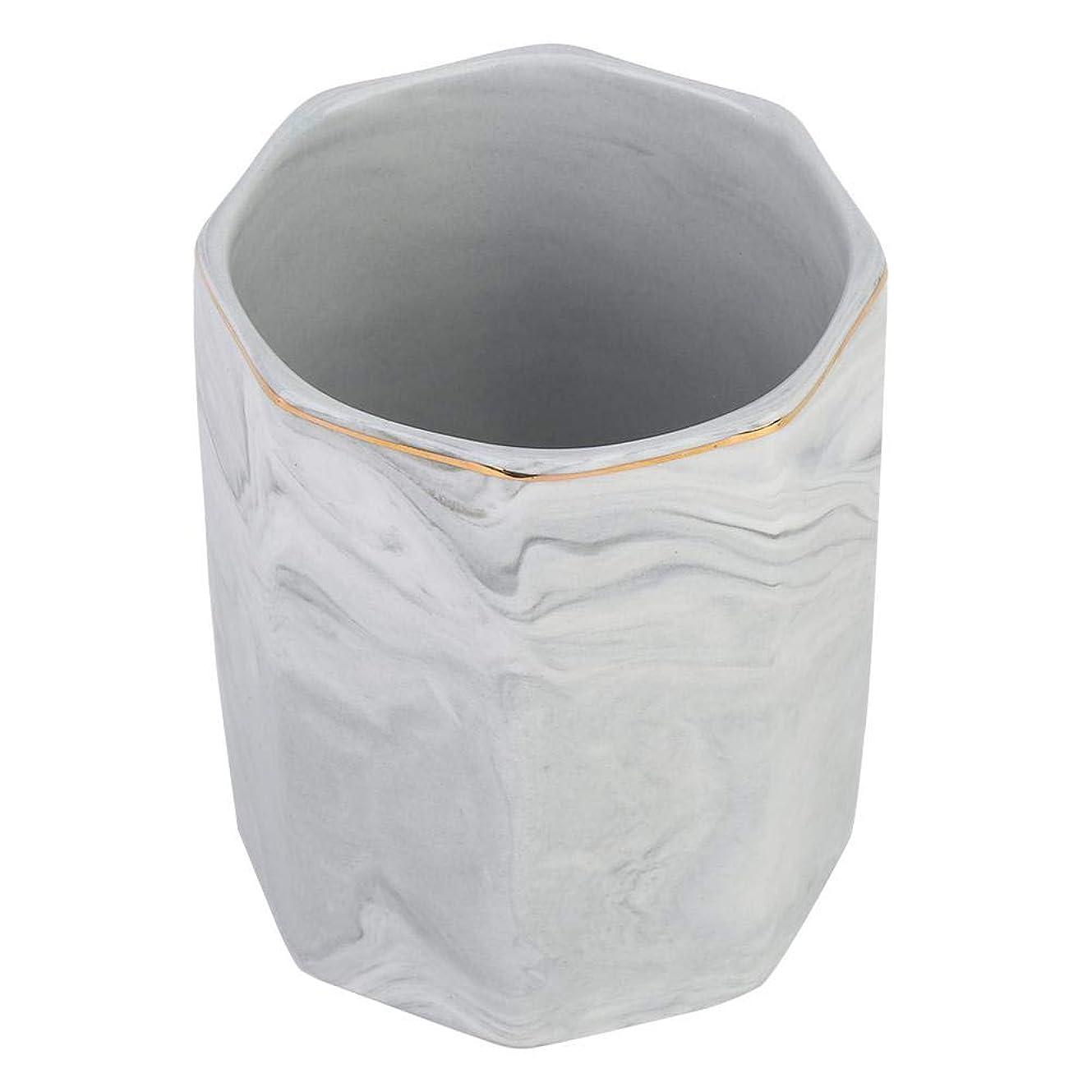ブローコカインアグネスグレイ化粧ブラシホルダー、ネイルアートツールホルダーとゴールドエッジの霜降り収納ケース(グレー)