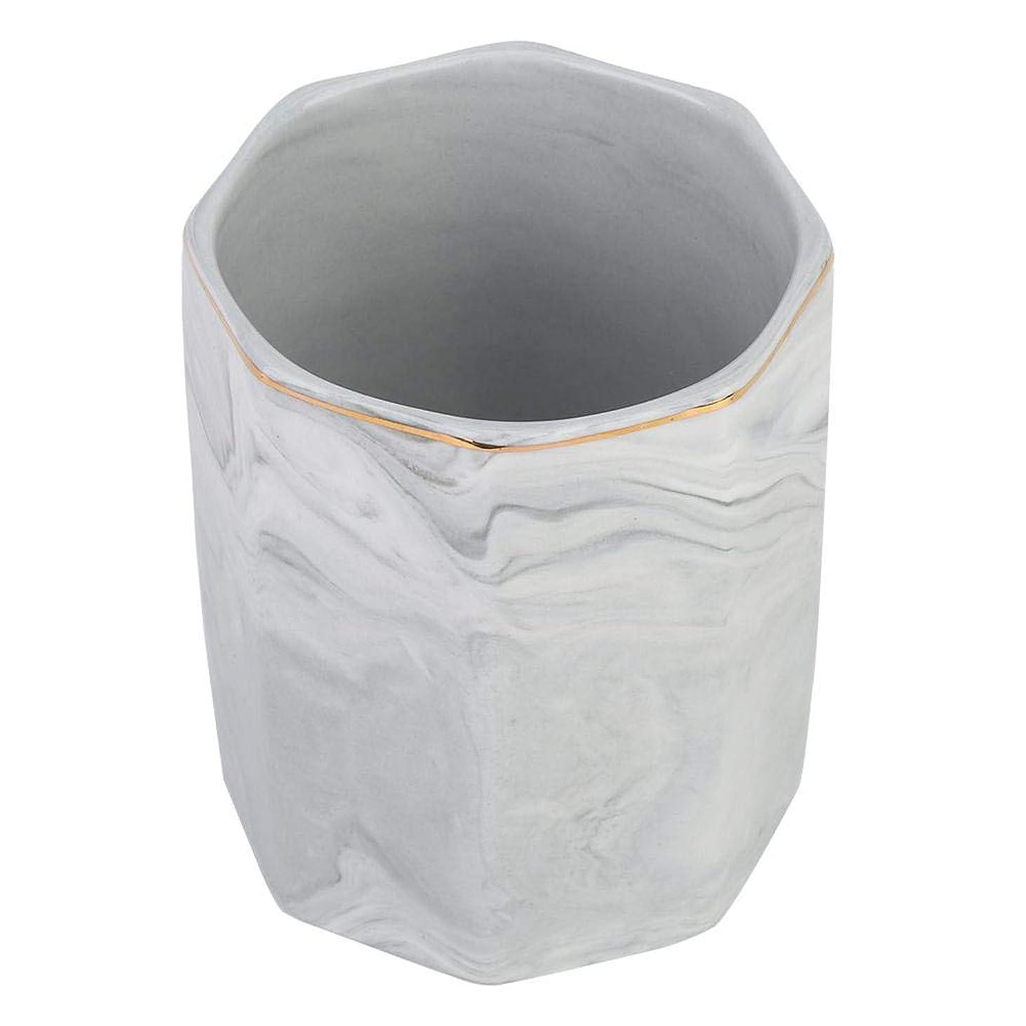 ロバ症候群ソーセージ化粧ブラシホルダー、ネイルアートツールホルダーとゴールドエッジの霜降り収納ケース(グレー)
