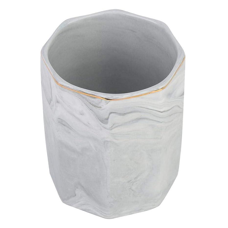 フェードハッチ葉っぱ化粧ブラシホルダー、ネイルアートツールホルダーとゴールドエッジの霜降り収納ケース(グレー)
